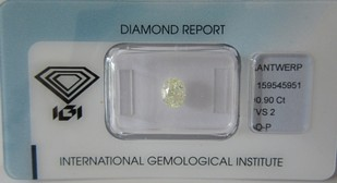 0,90 ct. / O-P / VS2 / IGI /oval