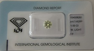1,0 ct. / W (light yellow) / IF / IGI